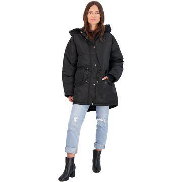 Adrienne Vittadini Women's Faux Fur Trim Down Fill Mid-Length Winter Parka Coat