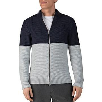 Atm Anthony Thomas Melillo Cotton-Blend Color-Blocked Regular Fit Full-Zip Cardigan