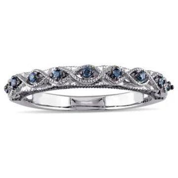 Miadora 10k White Gold 1/6ct TDW Blue Diamond Vintage Filigree Wedding Band