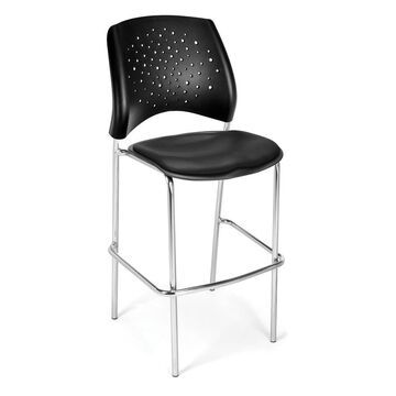 OFM Stars Series Model 328C-VAM Vinyl Cafe Height Chair, Black with Chrome Finish Base