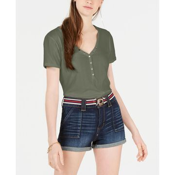 Juniors' Rib-Knit Snap-Front Top
