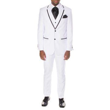 Ferrecci Men's Premium White Polyester Vested Slim-fit 3-piece Tuxedo