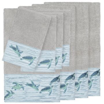 Authentic Hotel and Spa Turkish Cotton Turtles Embroidered Light Grey 8-piece Towel Set