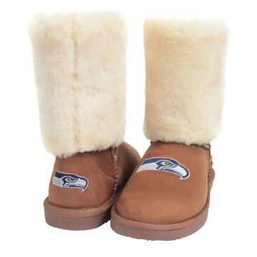 Women's Seattle Seahawks Cuce Tan Fan Boot