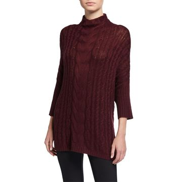 Wide-Neck Cabled Sweater