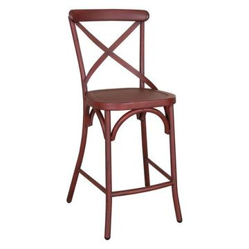 Liberty Furniture Vintage Series X Back Counter Chair, Red