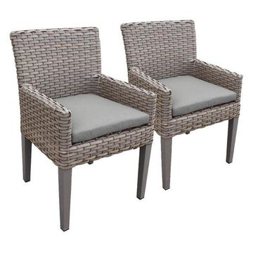 TK Classic Oasis Patio Dining Arm Chair in Gray (Set of 2)