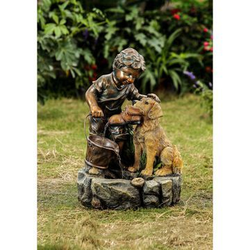 Jeco 'Boy Plays with Dog' Polyresin/Fiberglass Water Fountain