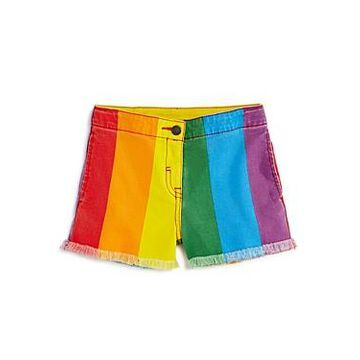 Stella McCartney Girls' Rainbow-Stripe Denim Shorts - Little Kid