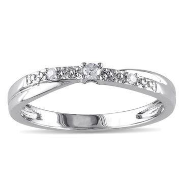 Miadora 10k White Gold Diamond Promise Ring