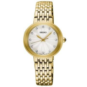 Seiko Women's Crystal Gold-Tone Stainless Steel Bracelet Watch 28.5mm, Created for Macy's