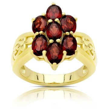 Dolce Giavonna Gold Over Sterling Silver Garnet Flower Design Ring