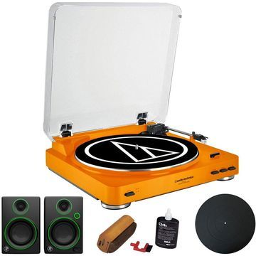 Audio-Technica Fully Automatic Stereo Turntable Orange + Audio Immersion Bundle
