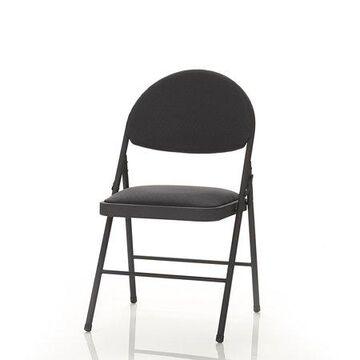 Cosco Comfort Folding Black Fabric Chair, Set of 4, Black