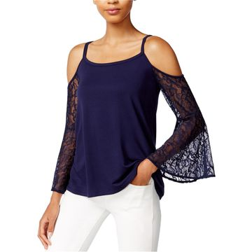 Kensie Womens Cold Lace Pullover Blouse
