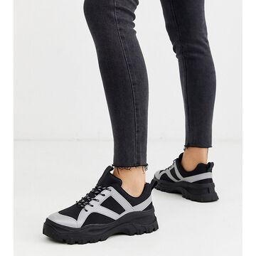 Monki reflective chunky sneakers in black