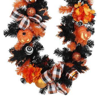 6Ft Halloween Jack-O-Lantern, Mum & Hydrangea Garland by Ashland   Michaels