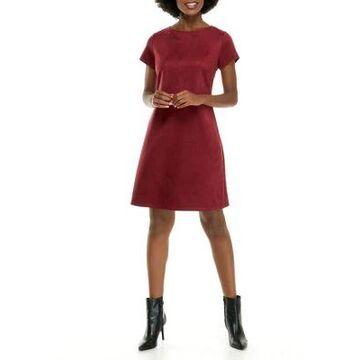 Ronni Nicole Women's Short Sleeve Faux Suede Shift Dress -
