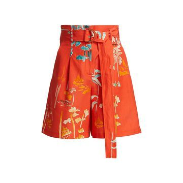 Lafayette 148 New York Degraw Floral-Print High-Waist Shorts