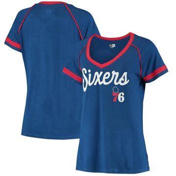 Philadelphia 76ers 5th & Ocean by New Era Women's Piped V-Neck T-Shirt Royal