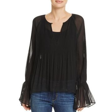 Ella Moss Womens Pleated Bell Sleeves Blouse
