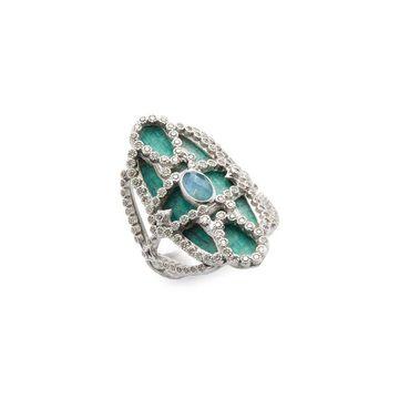 Armenta Silver Scrolled Quartz, Labradorite & Diamond Mosaic Ring