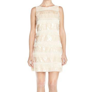 Eliza J Pink Blush Womens Size 6 Sequin Fringe Mesh Shift Dress