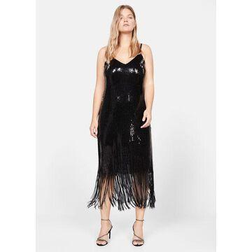 Violeta BY MANGO - Sequins fringed dress black - 12 - Plus sizes