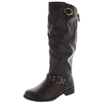XOXO Womens MINKLER Faux Leather Wide Calf Riding Boots