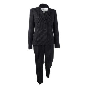 Le Suit Women's Notch-Collar Pinstriped Pantsuit - Black/White - 4