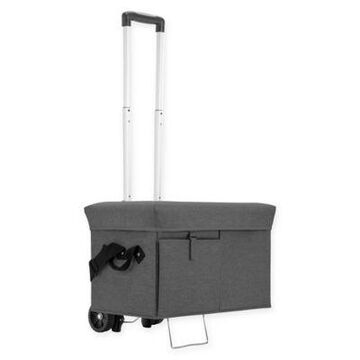 Picnic Time Ottoman Cooler With Trolley In Grey