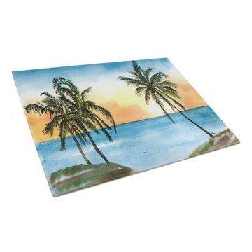 Caroline's Treasures Palm Tree Glass Cutting Board Large