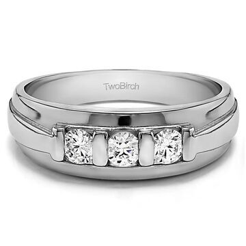 TwoBirch Sterling Silver Men's 1/4ct TDW Diamond Ring