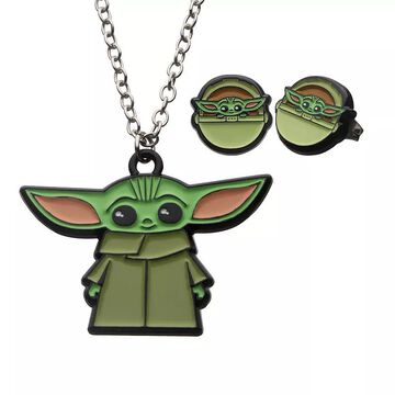 """Star Wars The Mandalorian The Child Earring & Necklace Set, Women's, Size: 16"""", Silver"""