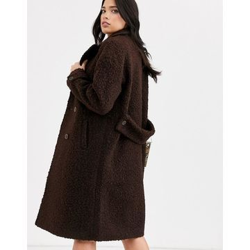 Fashion Union textured double breasted wool coat-Brown