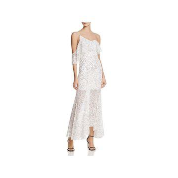 Keepsake Womens Maxi Dress Polka Dot One Shoulder