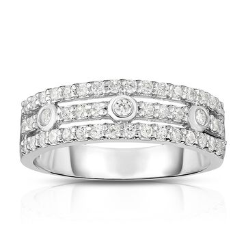 Noray Designs 14K Gold Diamond (0.45 Ct, G-H Color, SI2-I1 Clarity) 3-Row Wide Ring