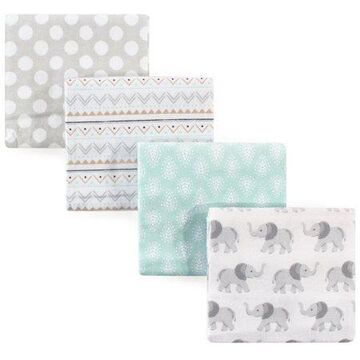 Hudson Baby Receiving Blankets Flannel 4-Pack - Gray Elephant