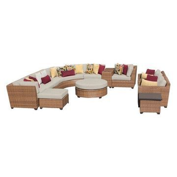 TK Classics Laguna 12-Piece Outdoor Wicker Sofa Set, Beige