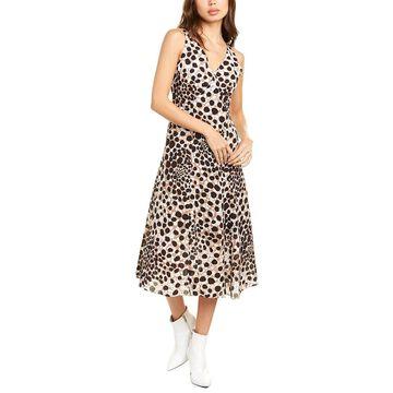 Elie Tahari Olive Silk Midi Dress