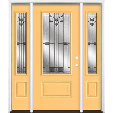 Masonite Frontier 64-in x 80-in Fiberglass 3/4 Lite Left-Hand Inswing Cabana Yellow Painted Prehung Single Front Door with Sidelights with Brickmould