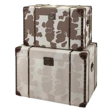Imax Linen And Mdf Set Of 2 Trunk With Brown Finish 65521-2