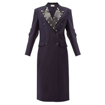 Christopher Kane - Latex-panel Double-breasted Wool Coat - Womens - Navy