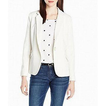 XOXO Jacket White Size Large L Junior Textured Boyfriend Button Front