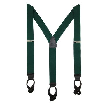 CTM Men's Elastic Button End Dress Suspenders with Silver Hardware