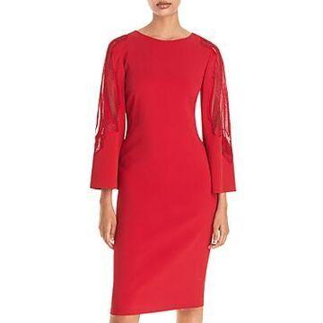 Alberta Ferretti Lace Inset Sheath Dress