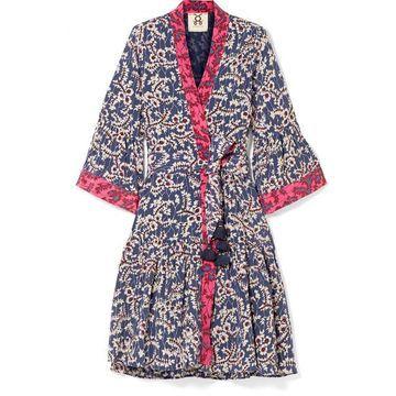 Figue - Caroline Printed Silk Crepe De Chine Wrap Dress - Blue
