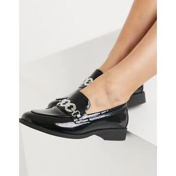Glamorous loafers with crystal detail in black