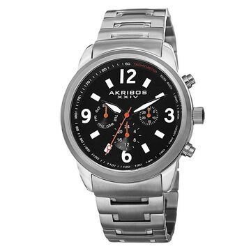 Akribos XXIV Men's Swiss Quartz Tachymeter Dual Time Stainless Steel Silver-Tone Bracelet Watch (Silver-tone/Black)