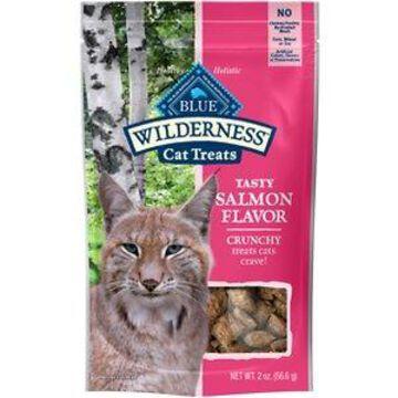 Blue Buffalo Wilderness Salmon Formula Crunchy Grain-Free Cat Treats, 2-oz bag, bundle of 2